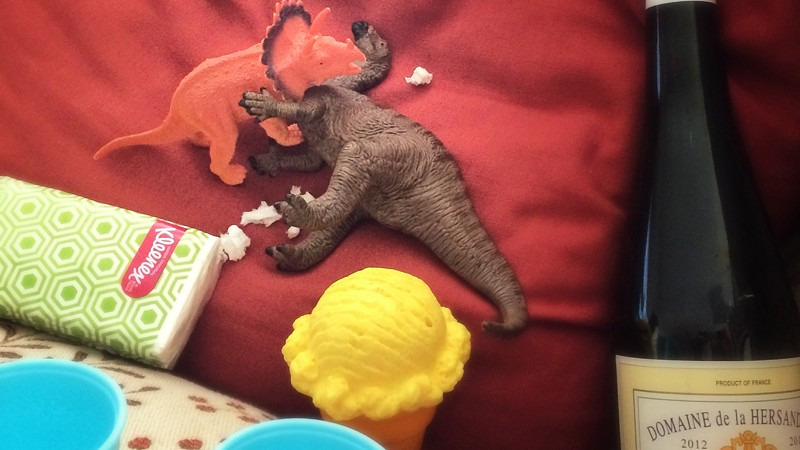 Dinovember - Tracey Triceratops being comforted by Hank the Iguanodon