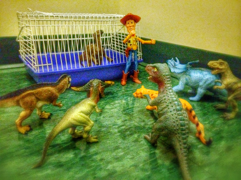 When word got out that Sheriff Woody had apprehended Hank the Iguanodon, he had no idea that he'd be facing down an angry mob. The Gang and friends had come looking for justice. Street justice. It was tense for a few minutes, but the Sheriff was able to talk the boys down and keep the mob from running wild.